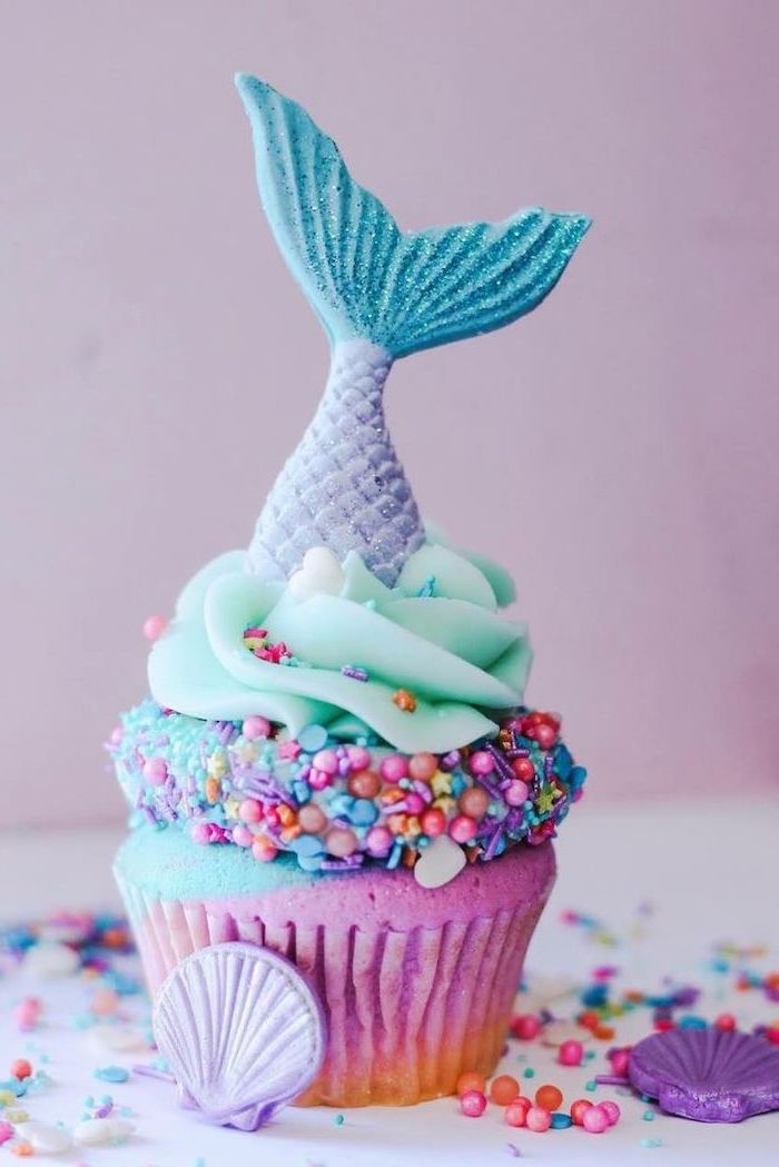 mermaid cupcake, colourful sprinkles, purple seashells, what should i do for my birthday, purple background