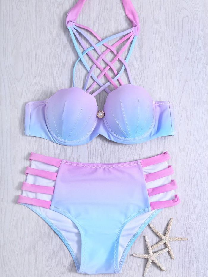 mermaid colours, pink blue purple ombre, high waisted bottom, kids bathing suits, wooden background