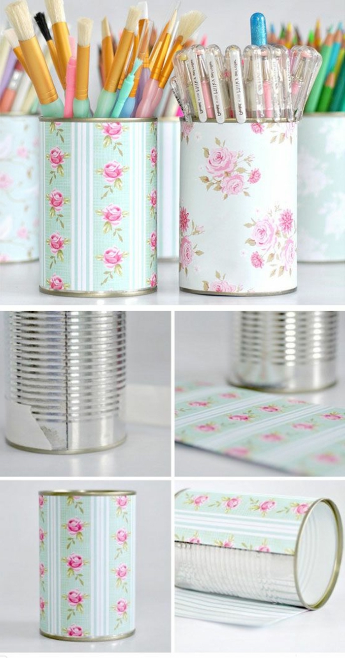 metal cans, fun crafts for teens, pencil holders, coloured paper, diy tutorial, step by step
