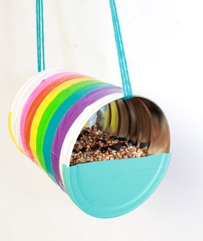 aluminium can, bird feeder, diy tutorial, diys for your room, painted in the colours of the rainbow