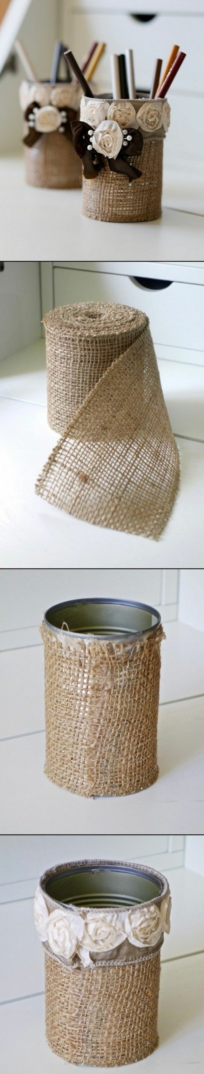 small faux white roses, brown bow, metal can, fun crafts for teens, diy tutorial, pencil holder