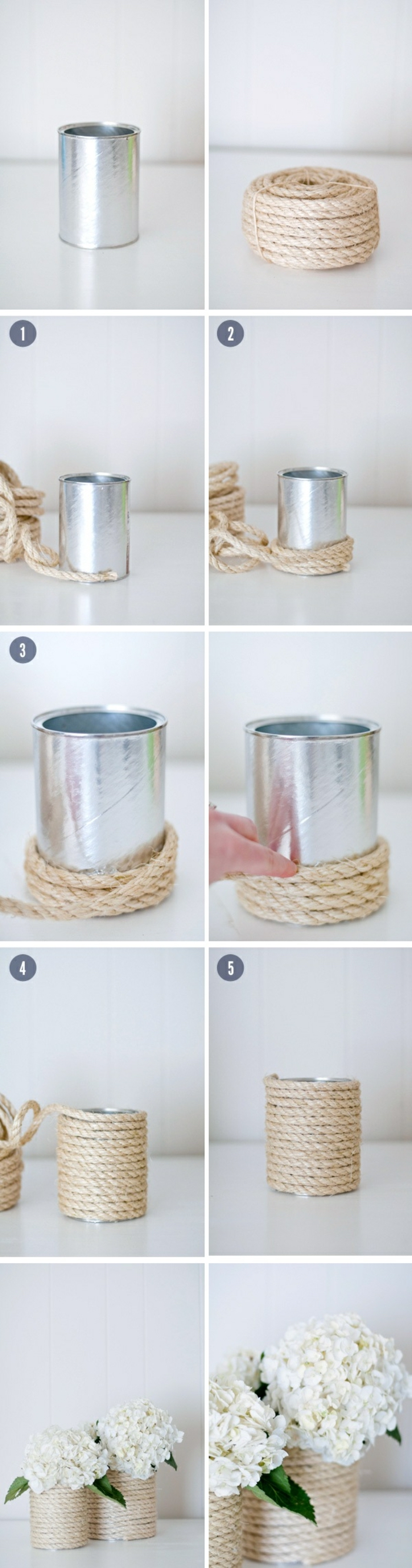 step by step, diy tutorial, diys for teens, metal can, yarn around it, white flower bouquets