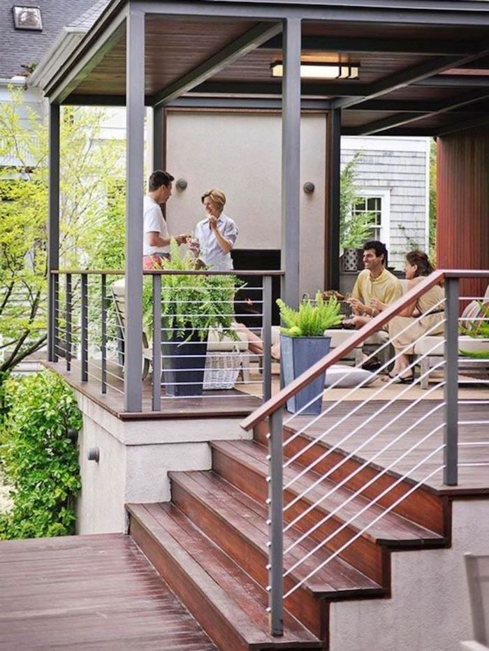 metal railing, garden furniture, wooden staircase, screened in patio ideas, potted plants