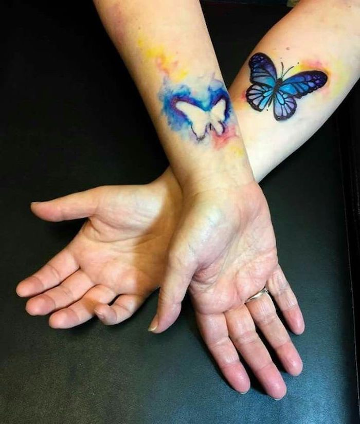 watercolor butterfly cutout, wrist tattoos, mother daughter infinity tattoos