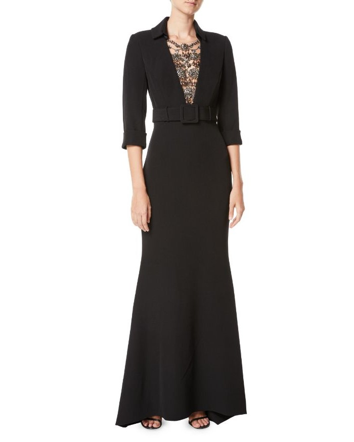 black dress, gold sequins, belt buckle, mother of the bride dresses with jackets, black sandals