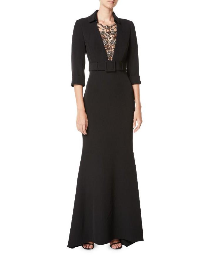 black dress, gold sequins, belt buckle, mother of the bride dresses with jackets, black sandals