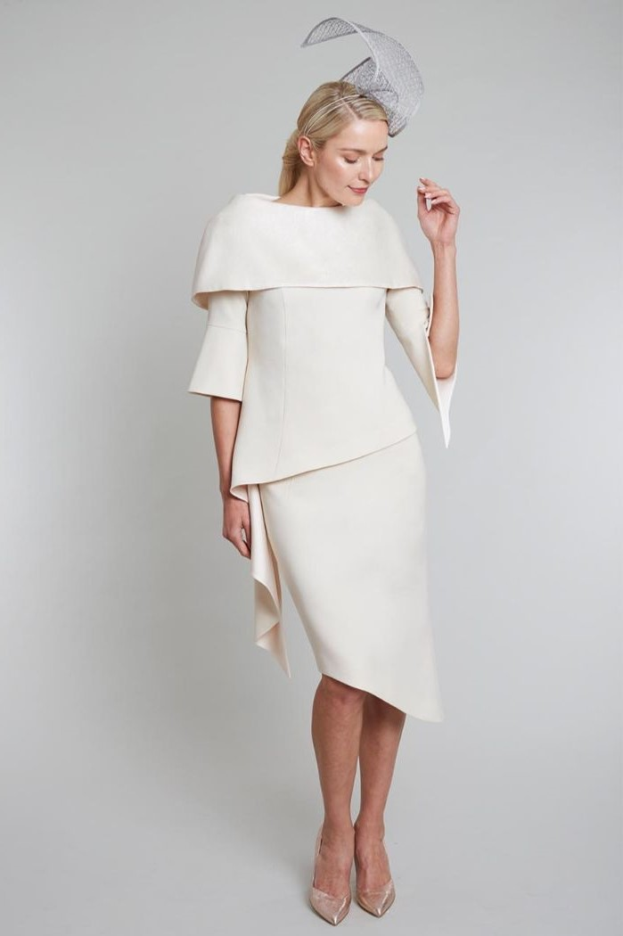 asymmetrical dress, nude heels, silver hat, mother of the bride dresses with jackets, blonde hair