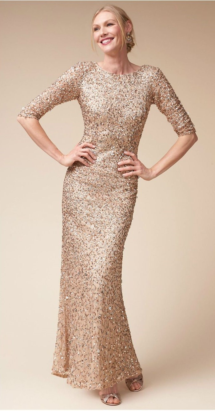 gold sequin dress, quarter sleeves, short mother of the bride dresses, blonde hair, in a low updo