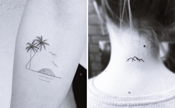 mountain landscape, back tattoo, beach landscape forearm tattoo, cute simple tattoos