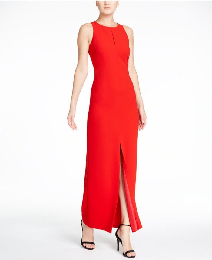 red dress, black sandals, navy blue mother of the bride dress, white background
