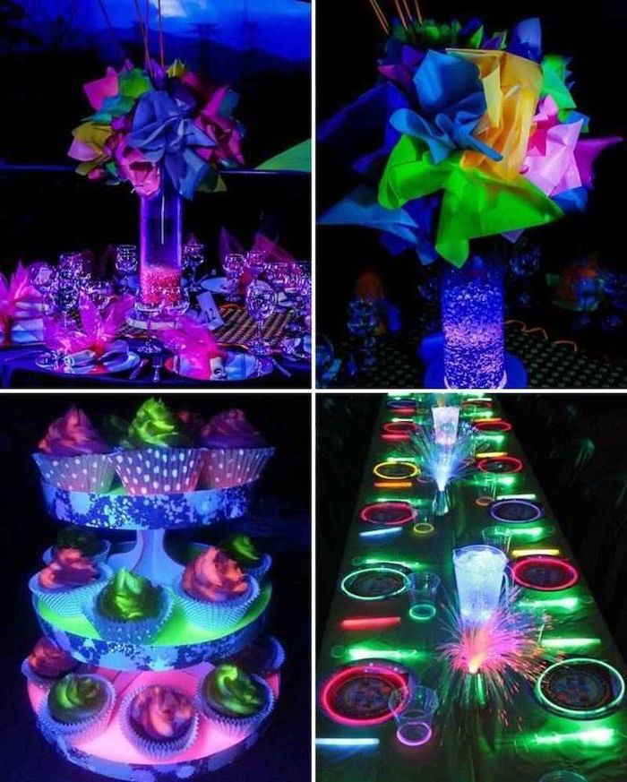 neon decorations, what should i do for my birthday, paper flower bouquets, neon napkins and cupcakes