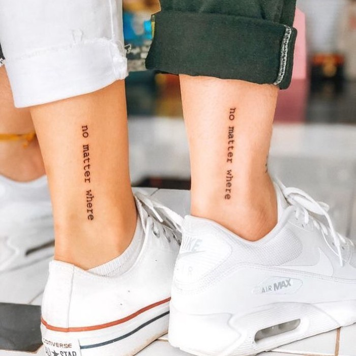 no matter where, ankle tattoos, white converse and nike sneakers, small matching tattoos