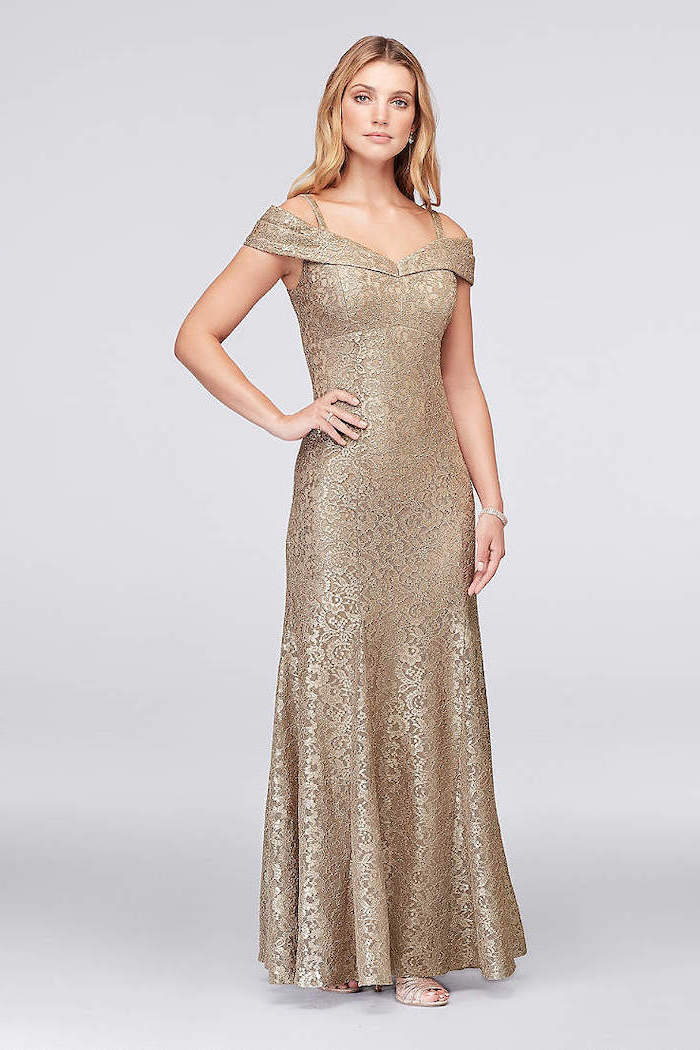 off the shoulders neckline, lace gold dress, chiffon bridesmaid dresses, blonde wavy hair