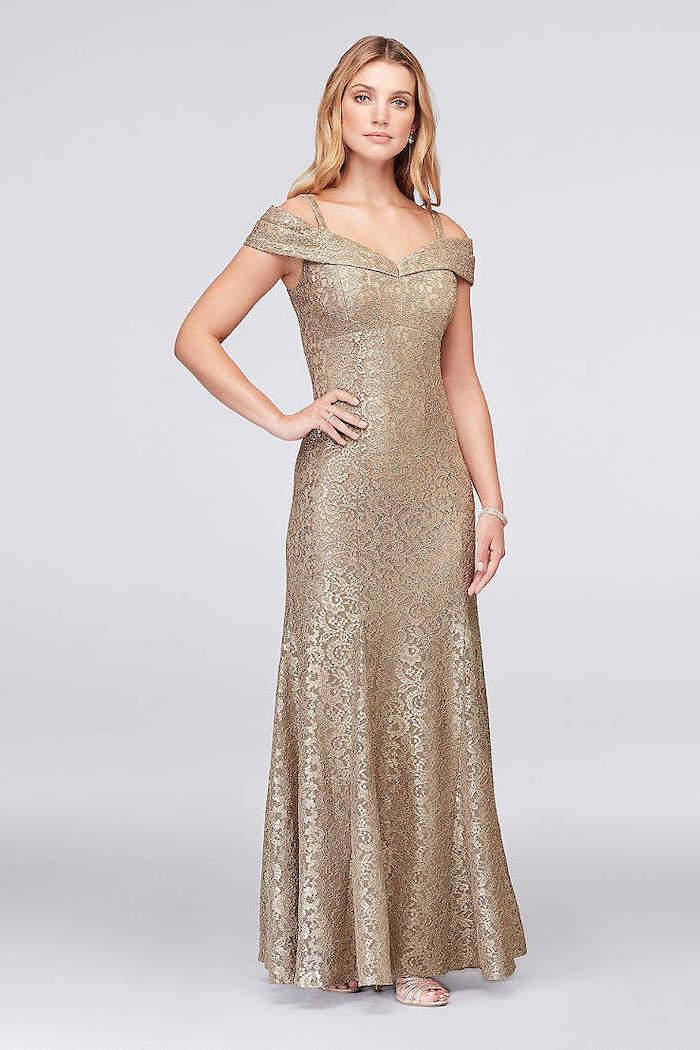 off the shoulders neckline, lace gold dress, chiffon bridesmaid dresses, blonde wavy hair
