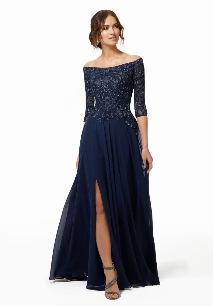 mother of the bride wedding dresses, lace top, chiffon skirt, navy blue, off the shoulder neckline