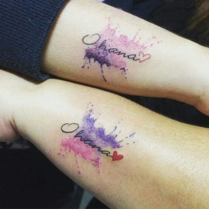 ohana watercolour tattoos, small hearts, small matching tattoos, side arm tattoos