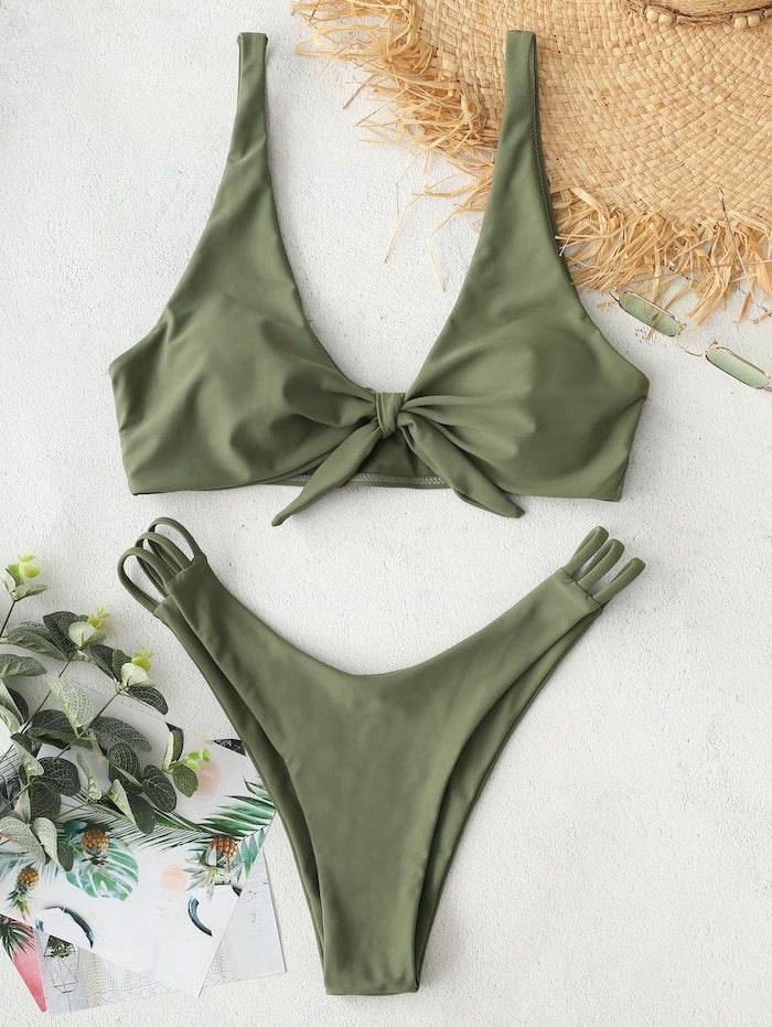 olive green, two piece, high waisted bottom, bathing suits for kids girls, straw hat