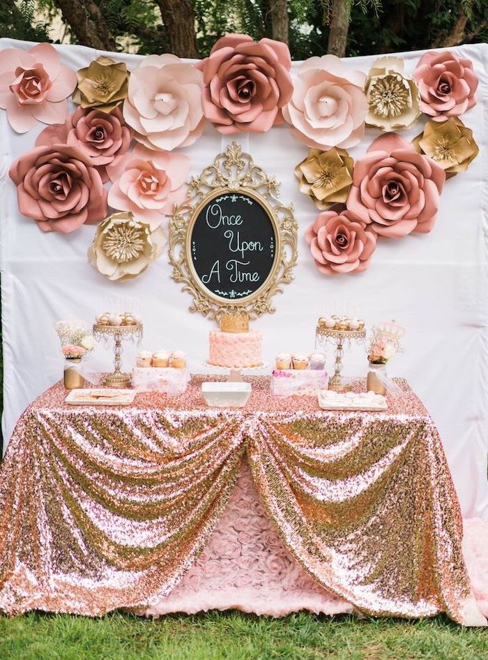 once upon a time, large paper roses, in pink and gold, teen birthday party ideas, rose gold sequins