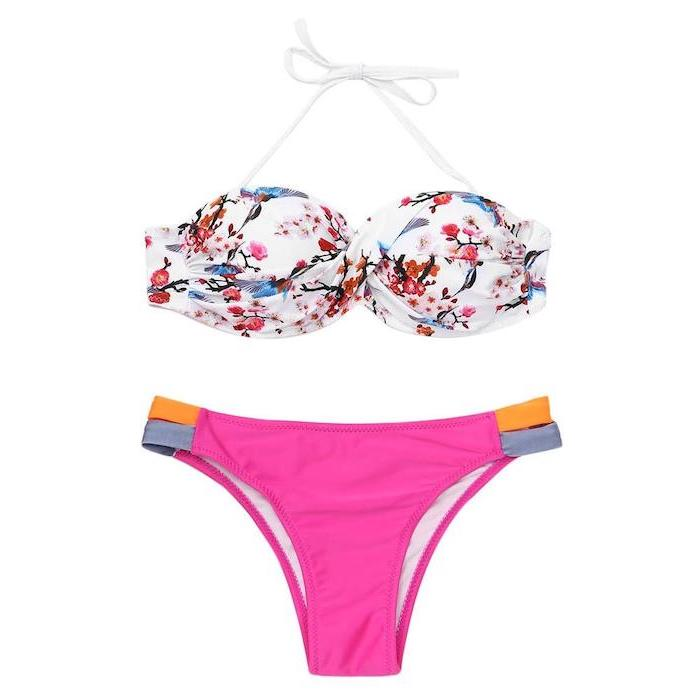 pink bottom, floral print top, white background, bathing suits for kids girls