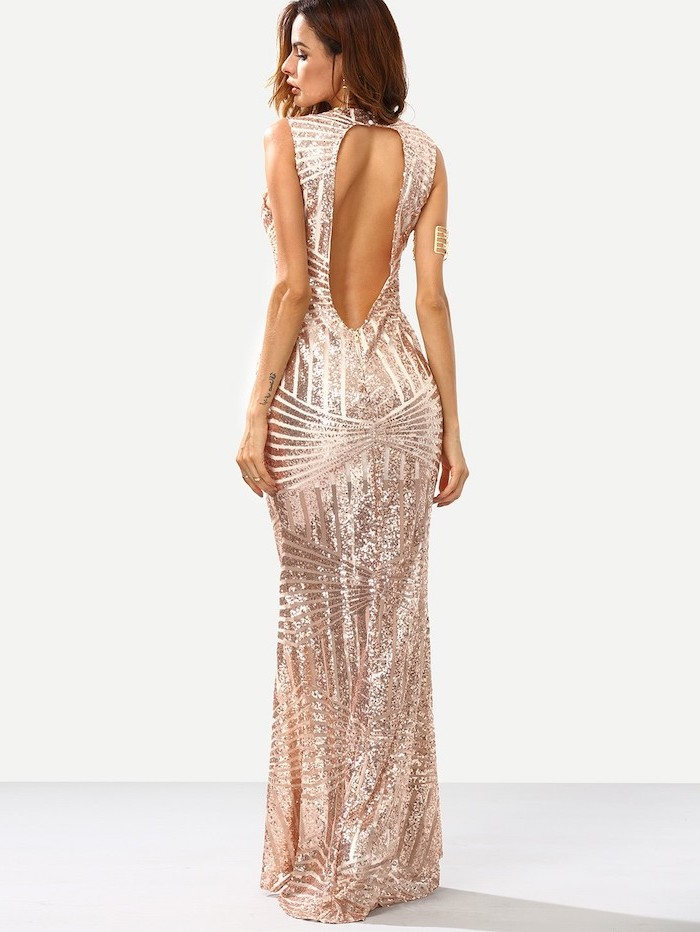 chiffon bridesmaid dresses, rose gold, sequin dress, bare back, brown wavy hair