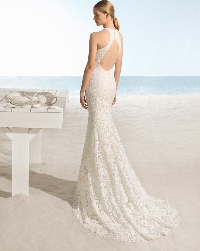 open back, long lace dress, bohemian beach wedding dress, mermaid dress, long train, blonde hair, in a ponytail