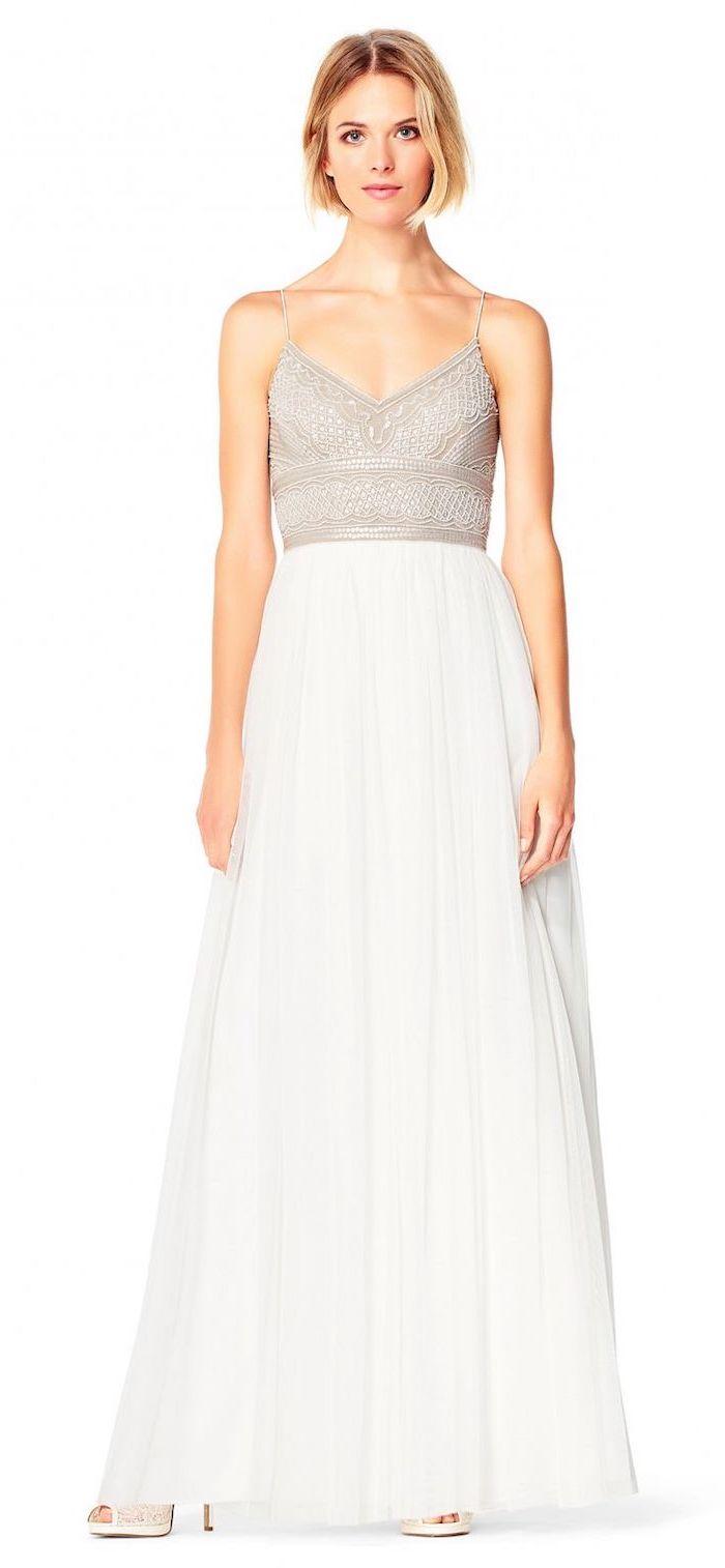 champagne lace top, chiffon skirt, short beach wedding dresses, short blonde wavy hair