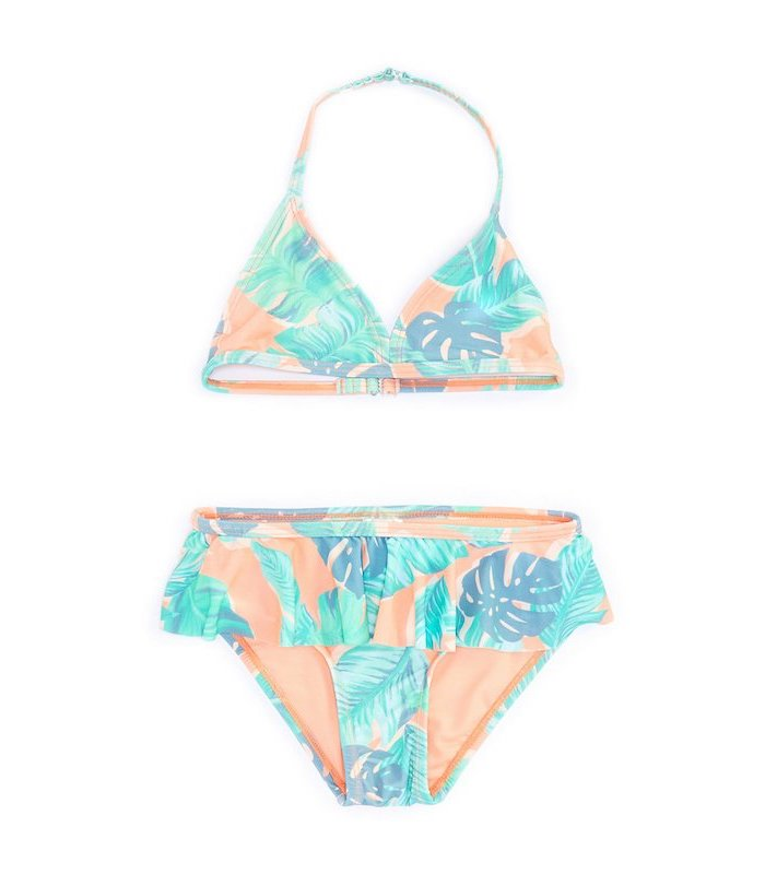 orange with floral print, two piece, big girl bathing suits, white background