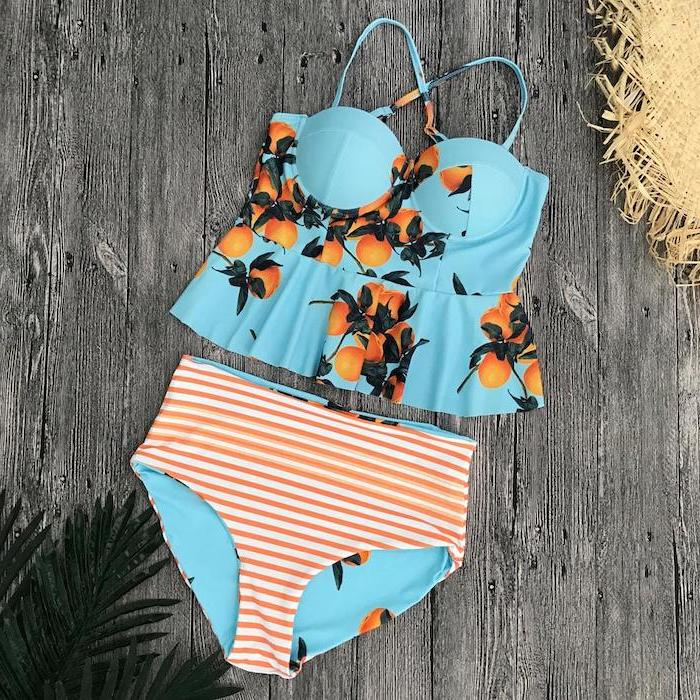 orange and white striped, high waisted bottom, blue with orange tree print top, big girl bathing suits