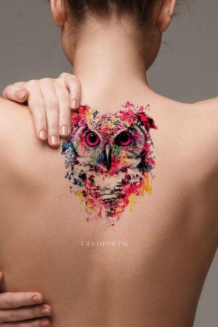 owl head, back tattoo, watercolor phoenix tattoo, brown hair