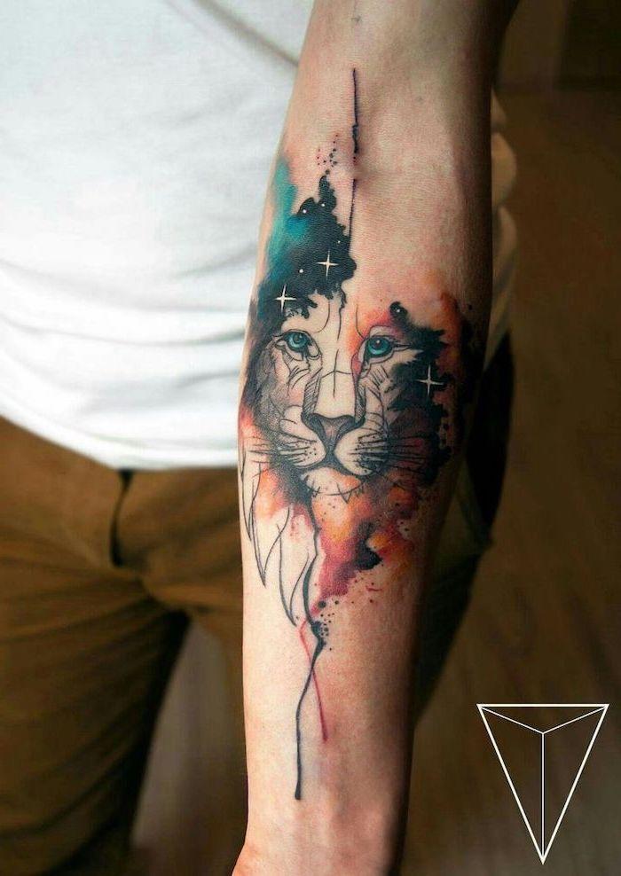 lion head, watercolor phoenix tattoo, white shirt, khaki pants, forearm tattoo