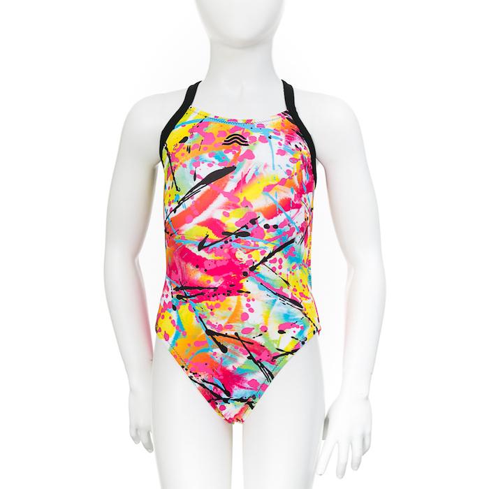 paintbrush strokes print, black stripes, bikinis for girls, white mannequin, white background, one piece