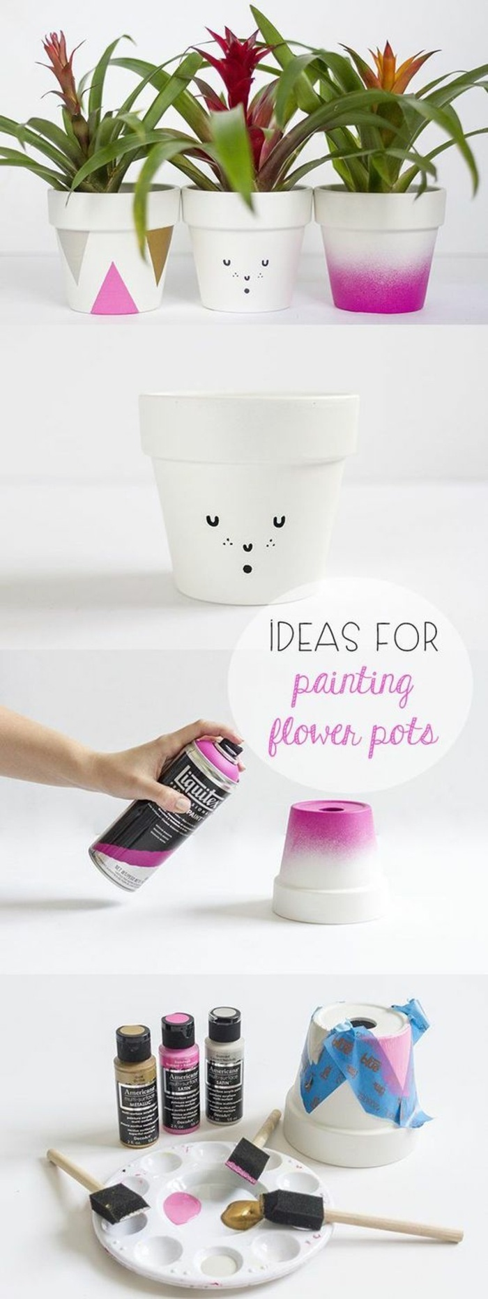 ideas for painting flower pots, ceramic pots, pink paint, fun crafts for teens