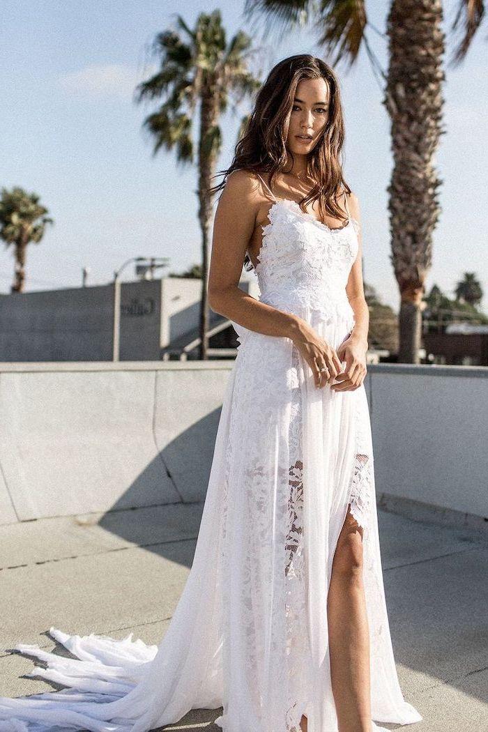 maxi dress for beach wedding, long brown wavy hair, dress made of lace and chiffon, long train, palm trees
