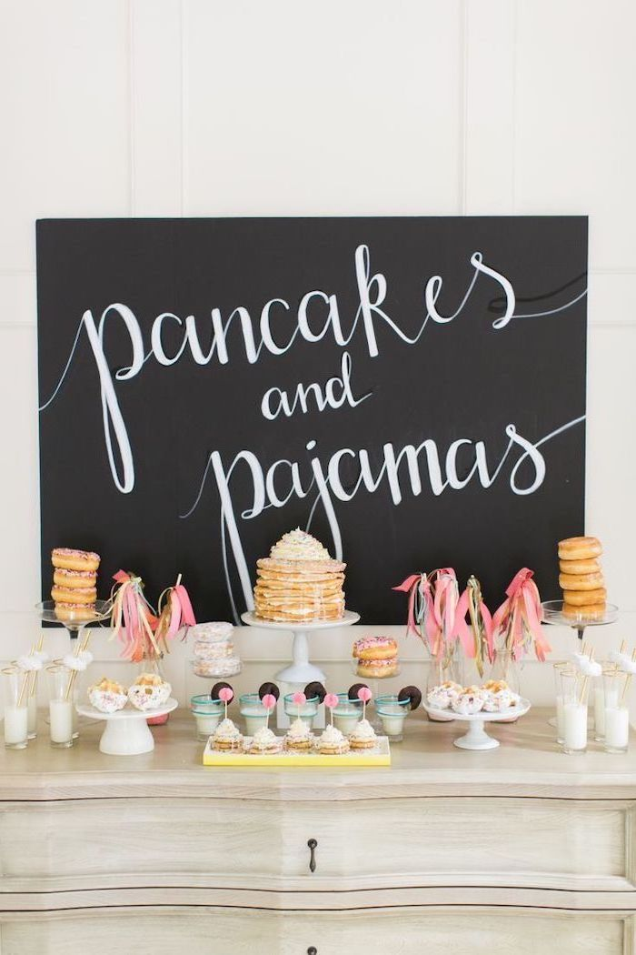 pancakes and pajamas, 16th birthday party ideas, slumber party, donuts and cupcakes