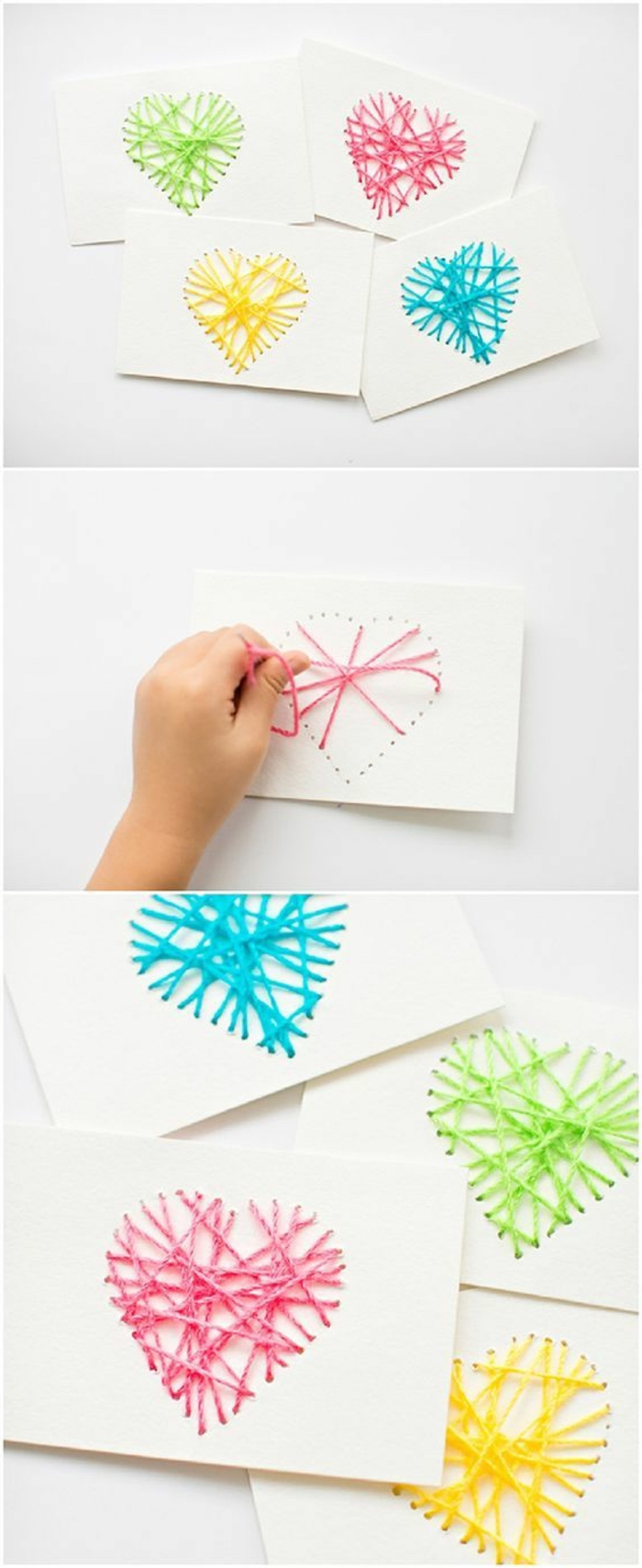 greeting cards, green and red, yellow and blue yarn, in the shape of a heart, fun diy projects