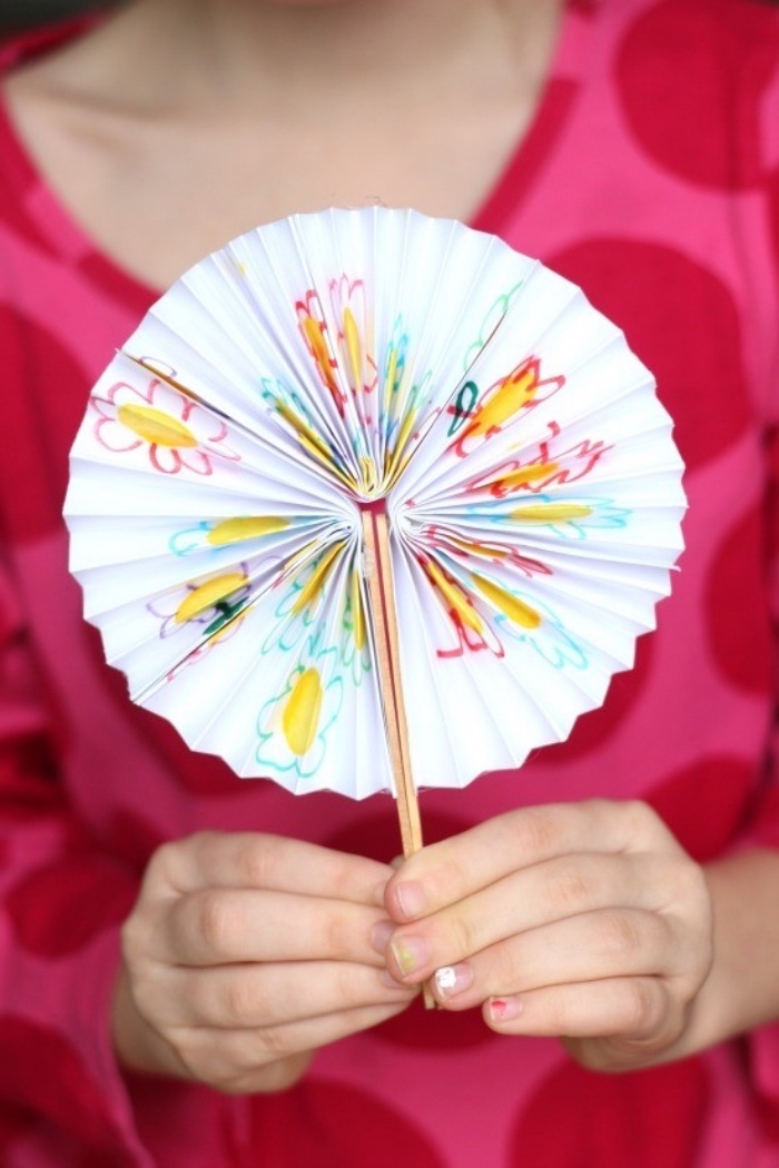 paper fan, step by step, diy tutorial, diys for teens, pleated paper, pink blouse