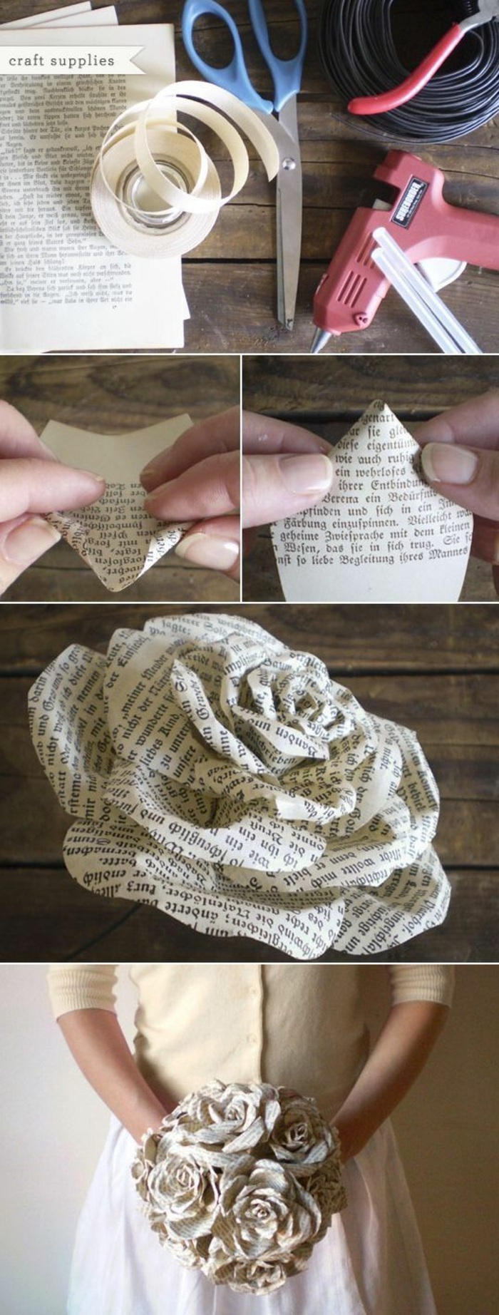 faux flower bouquet, made of book pages, fun diy projects, diy tutorial, step by step