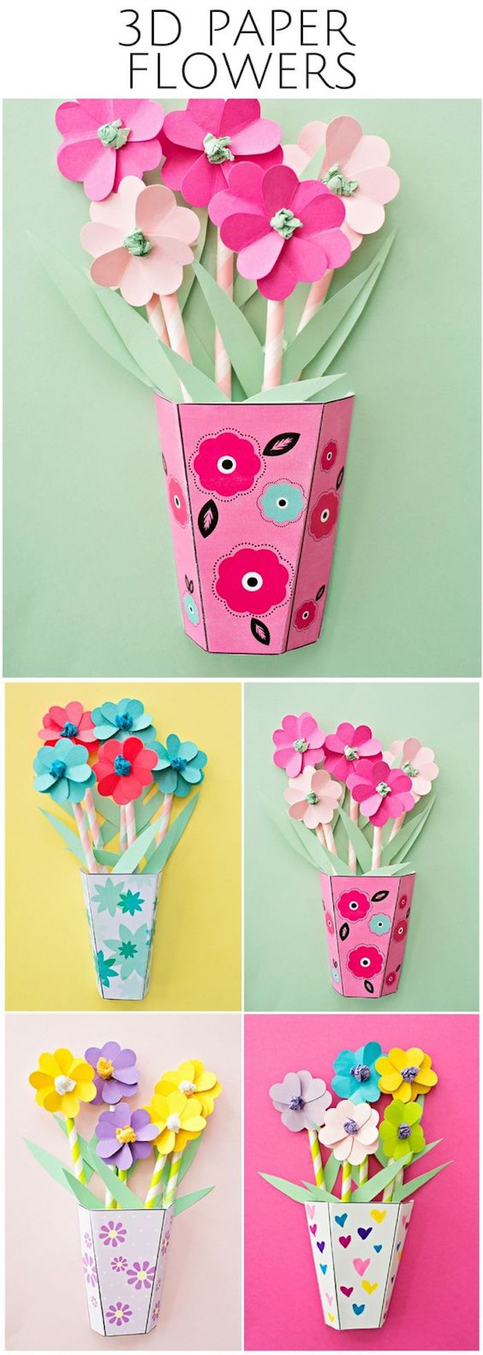 easy crafts for toddlers, 3d paper flowers, colourful paper pots, photo collage