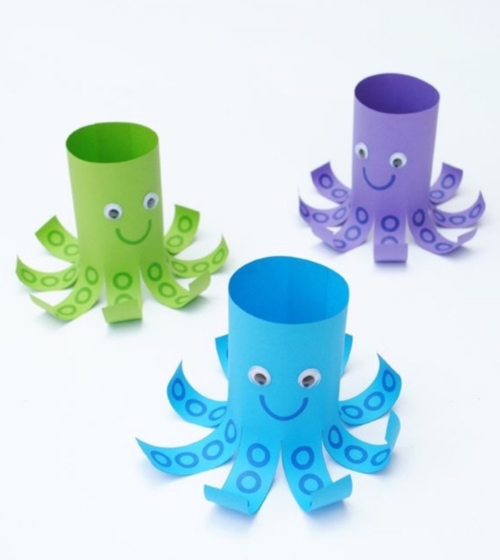 cute octopuses, made of toilet paper rolls, easy crafts for toddlers, tentacles and eyes