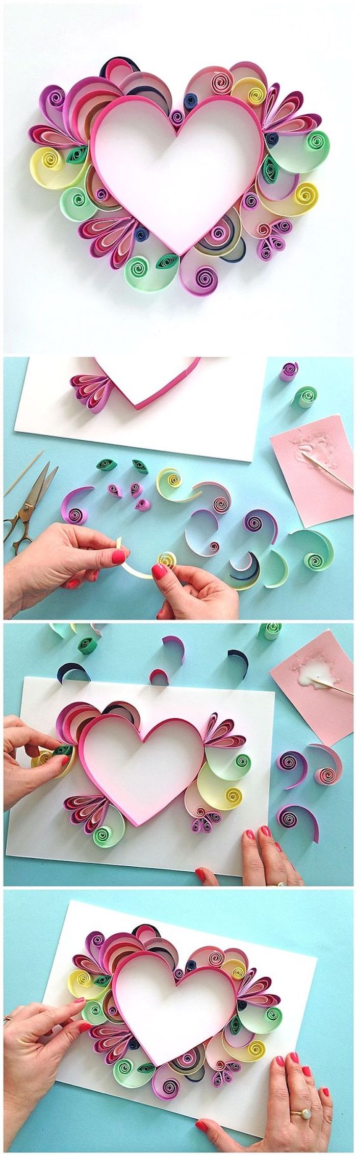 paper quilling, colourful heart, made of paper, easy crafts for toddlers, step by step, diy tutorial