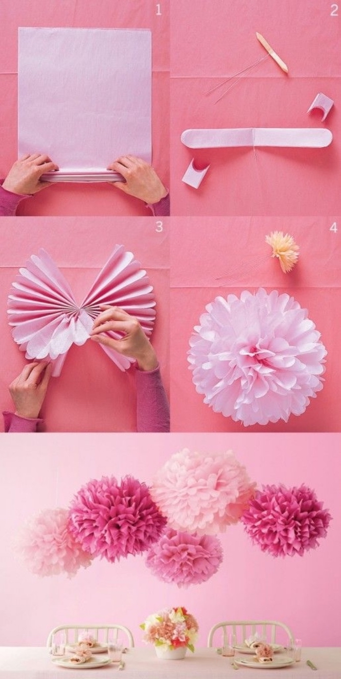large pink flowers, made of pleated paper, easy crafts for toddlers, step by step tutorial