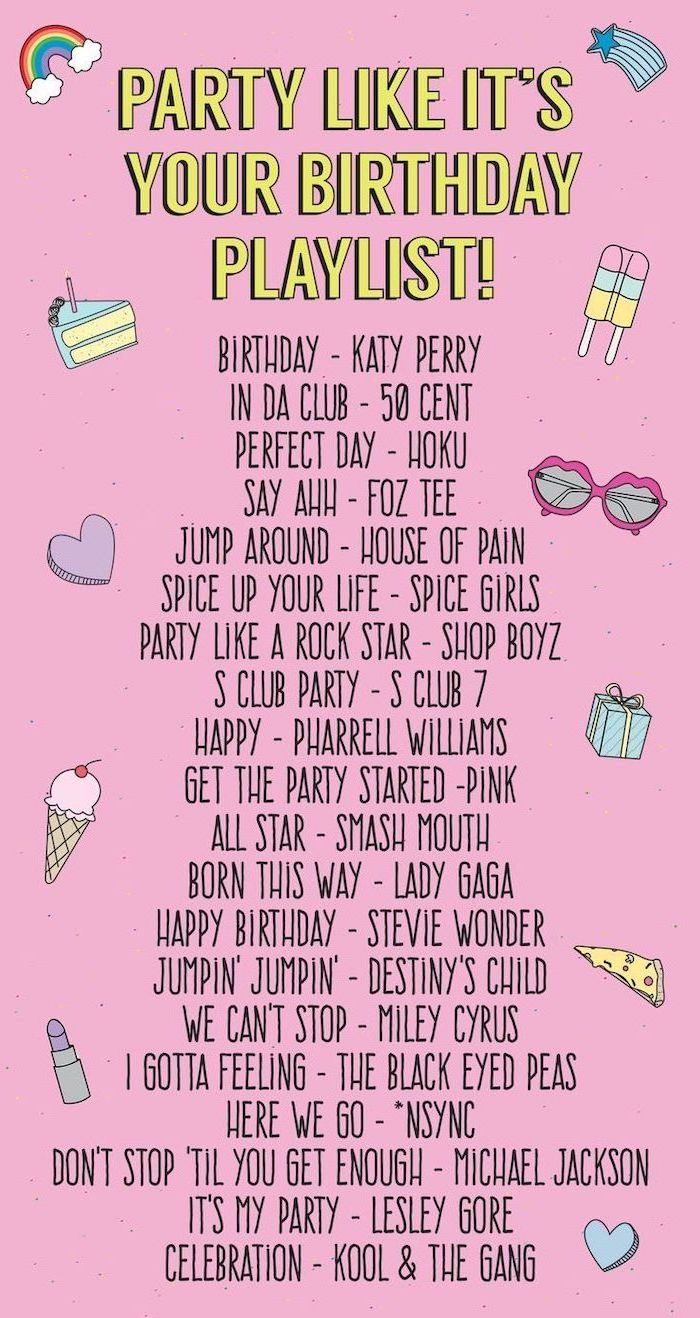 birthday themes, party like it's your birthday playlist, list of different songs, pink background