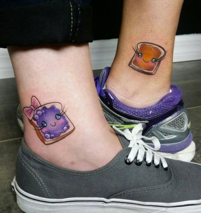 peanut butter and jelly, coloured ankle tattoos, friendship tattoos, grey and purple sneakers
