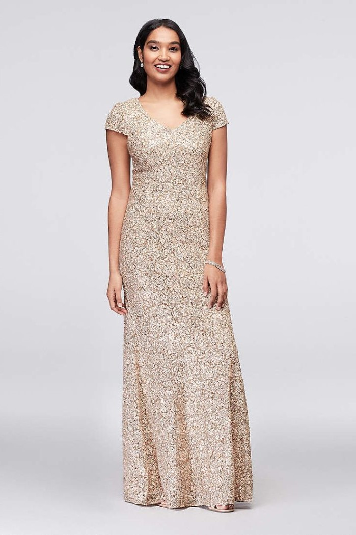 champagne long dress, black wavy hair, short sleeves, mother of the bride wedding dresses