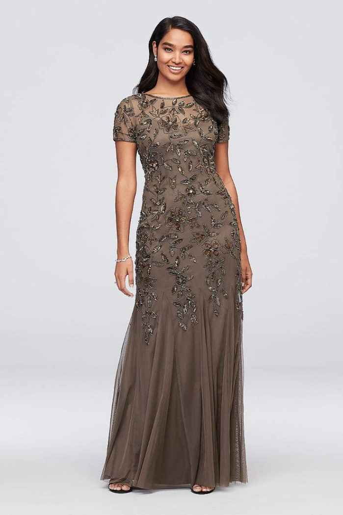 champagne lace and chiffon, mother of the bride wedding dresses, black wavy hair, white background