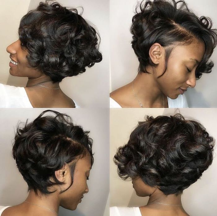 photo collage, short curly hairstyles for black women, different angles, on black hair