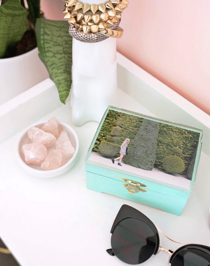 wooden jewellery box, photo on top, black sunglasses, crafts to do when bored, white shelf