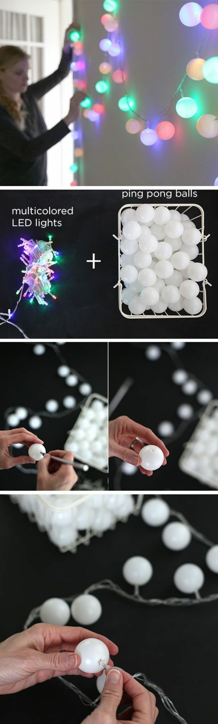 ping pong balls, fairy lights, fun diy projects, diy tutorial, step by step