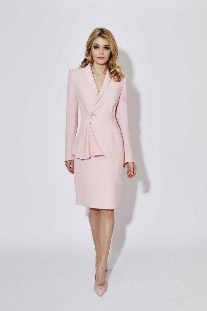 coat dress, blush colour, nude heels, mother of the bride wedding dresses, blonde wavy hair