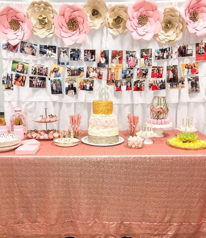 pink and gold, paper roses, hanging photo garlands, teen birthday party ideas, three tier cake, cake stands